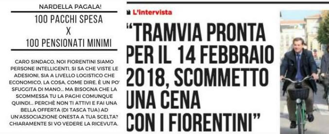 """Firenze, Nardella disse: """"Tramvia pronta entro il 14 febbraio 2018. Scommetto una cena"""". E ora i fiorentini la pretendono"""