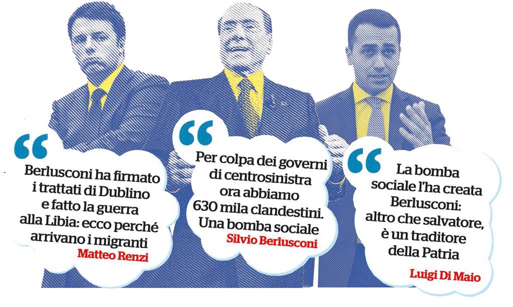 In Edicola sul Fatto Quotidiano del 6 febbraio: Migranti, le bugie di B. e Renzi: ecco i disastri dei loro governi