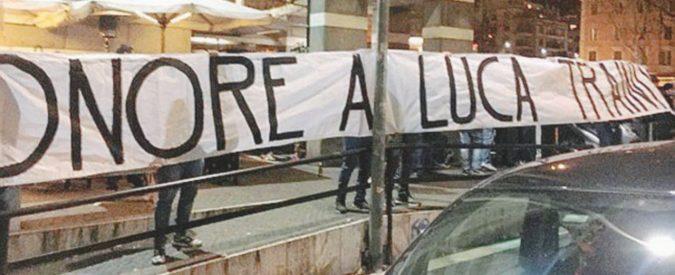 """Striscione a Roma per il fascioleghista """"Onore a Luca"""""""