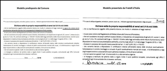 """Meloni: """"A Pontedera il sindaco ci vieta di fare campagna"""". Ma Fratelli d'Italia aveva sbianchettato l'antifascismo dai moduli"""