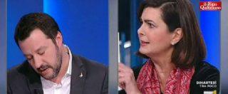 """Elezioni, Salvini vs Boldrini: """"Ma parla per cartelli?"""". """"Certo, con gli hashtag, come fa lei. Così ci capiamo meglio"""""""