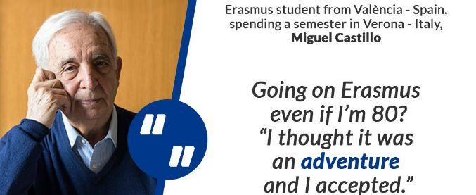 """""""Non posso stare fermo"""", 80enne spagnolo si iscrive all'università e va in Erasmus a Verona"""