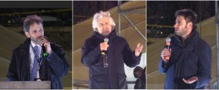 """Elezioni, sul palco M5S Casaleggio, Grillo e Di Battista: """"Votare il Pd è votare Berlusconi"""".""""Partiti sciolti come diarrea"""""""