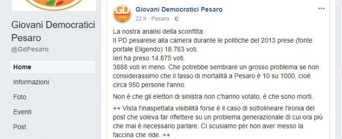 """Elezioni 2018, i Giovani Democratici di Pesaro: """"Gli elettori di sinistra non hanno votato Pd? No, sono morti di vecchiaia"""""""