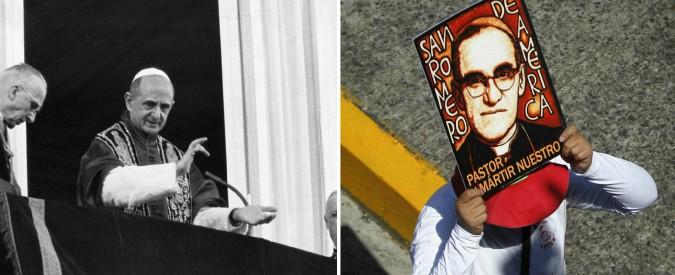 Francesco proclama santi Paolo VI e Romero: il Papa del Concilio e il vescovo di strada simboli della Chiesa di Bergoglio