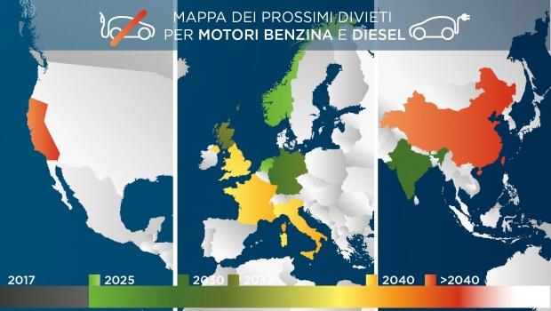Passando poi all anno 2030 con la fine della vendita di auto a motore  termico in Germania e in India e al 2040 scelto come anno limite da  Francia 1b90d76863fa