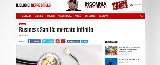 Sanità, sul blog Beppe Grillo sbaglia e disinforma