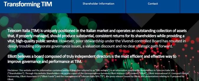 """Tim, il fondo Elliott ha più del 5% e accusa Vivendi di conflitto di interessi. I francesi: """"Vuole destabilizzare"""""""