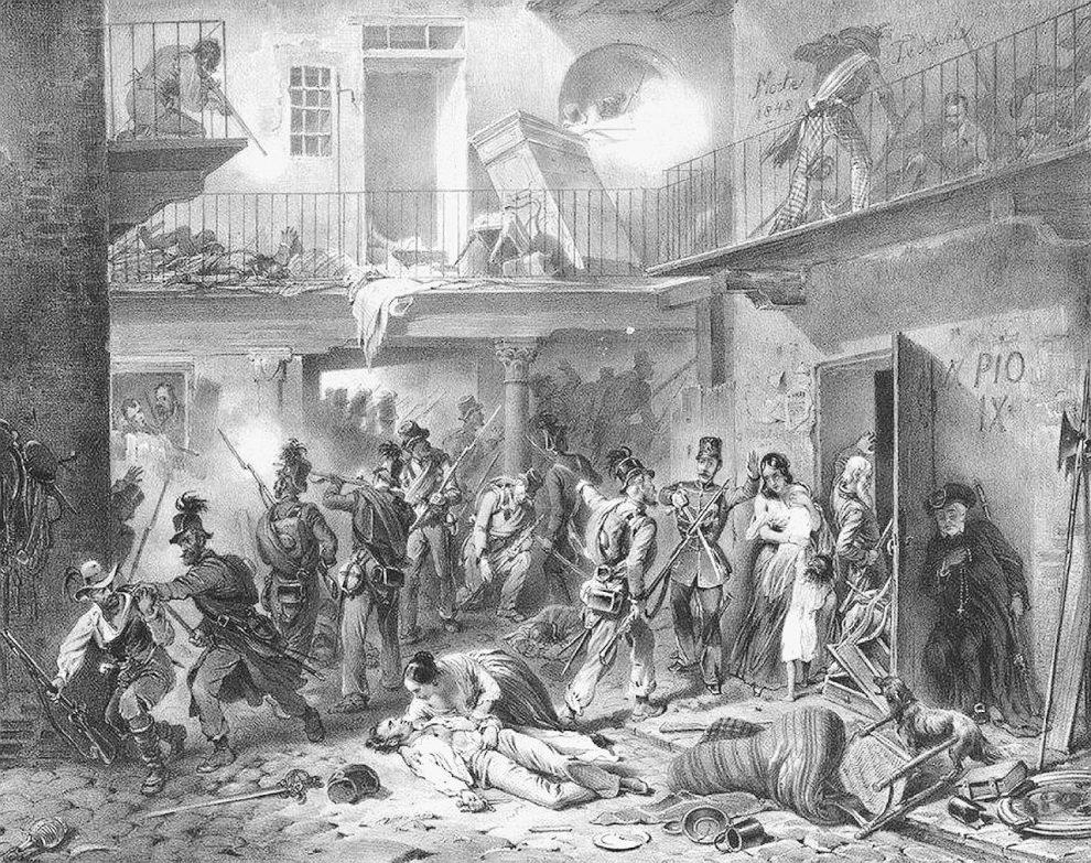 Stampe d'epoca – Combattimento in un cortile e la ritirata degli austriaci dal dazio di Porta Tosa