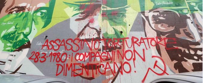 """Milano, imbrattato il murale dedicato a Dalla Chiesa: """"Assassino torturatore"""""""