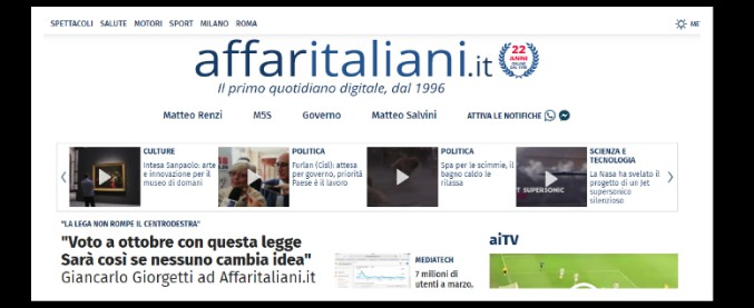 Affaritaliani.it, il quotidiano online nato nel 1996 compie 22 anni e rinnova il sito
