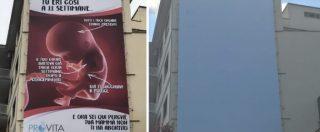 Roma, rimosso dopo le polemiche il maxi manifesto di ProVita contro l'aborto