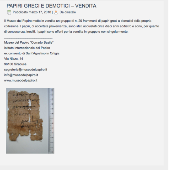 Siracusa, Museo del papiro vende pezzi per tagli ai finanziamenti