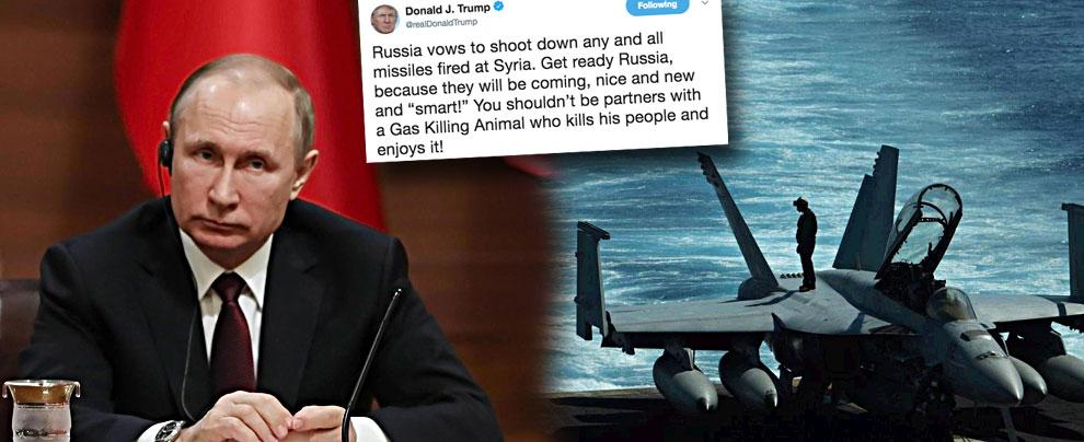 """Siria, Mosca avverte: """"Se Usa attaccano, rispondiamo"""". Trump: """"Russi preparatevi, i missili 'intelligenti' stanno arrivando"""""""