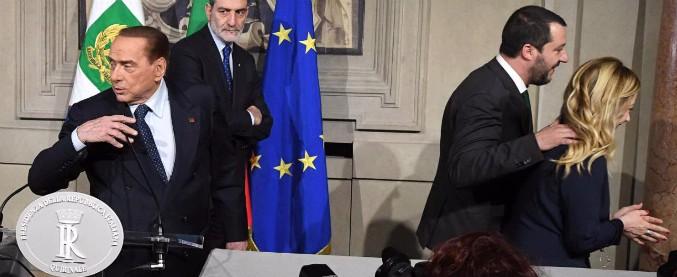 Consultazioni, il centrodestra si presenta unito e poi si spacca sull'alleanza col Pd. Salvini accanto a B: 'Riformare la giustizia'