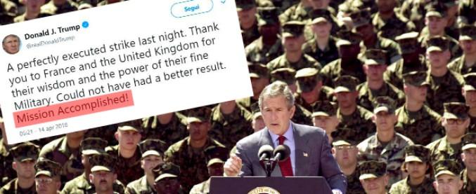 """Siria, la maledizione della """"missione compiuta"""": la frase usata da Trump che fu simbolo della debacle di Bush in Iraq"""