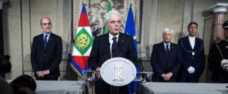 """Governo, Mattarella: """"Governo neutrale fino a dicembre. Se non nasce maggioranza, nuovo voto. Scelgano i partiti"""""""
