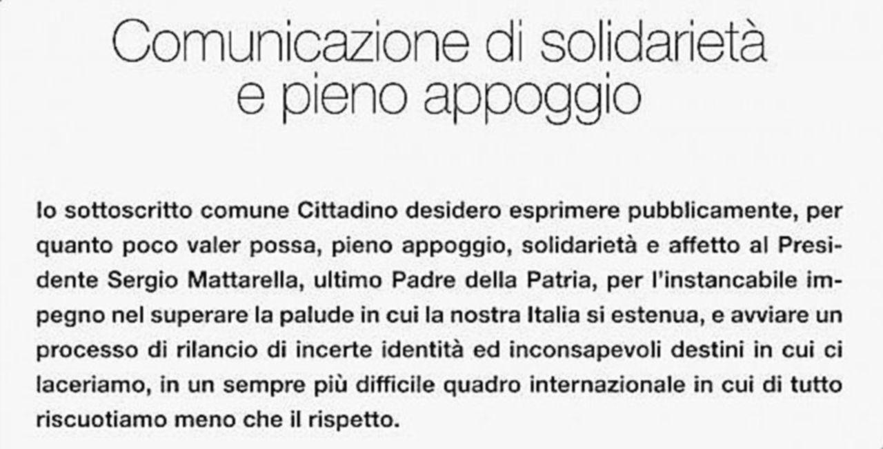 Carlo Callieri compra una pagina del Corsera per lodare Mattarella
