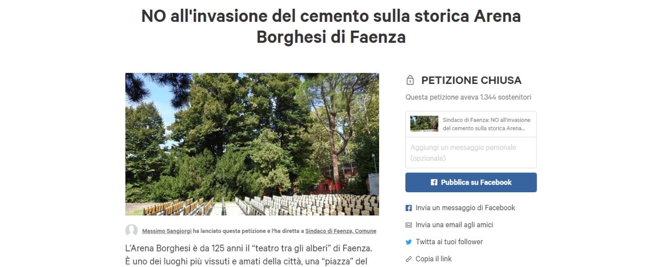 Faenza, non rinunciamo alla bellezza. Salviamo l'Arena Borghesi