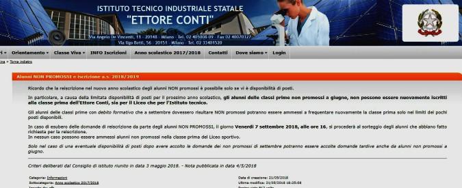 """Milano, la scuola dove chi viene bocciato rischia di restare fuori: """"La re-iscrizione è possibile solo se ci sono posti disponibili"""""""