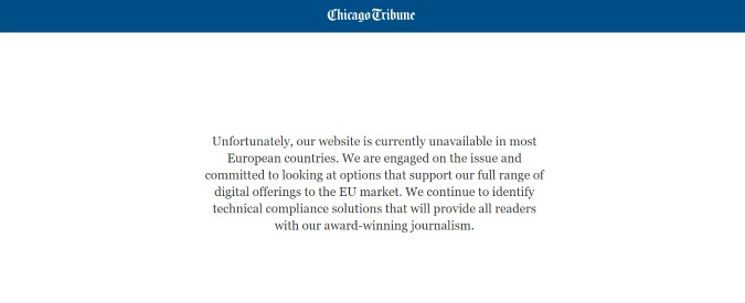Gdpr e privacy, diversi siti Usa offline in Europa: dal Chicago Tribune al Los Angeles Times