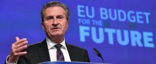 """Oettinger, M5s: """"Si dimetta e Juncker smentisca"""". Salvini: """"Bruxelles senza vergogna"""". Il Pd: """"Dichiarazione stupida"""""""