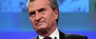 """Fondi Ue, Oettinger: """"Contributo netto dell'Italia è sui 3 miliardi"""". Germania: """"Roma non sia sola, ma rispetti trattati"""""""