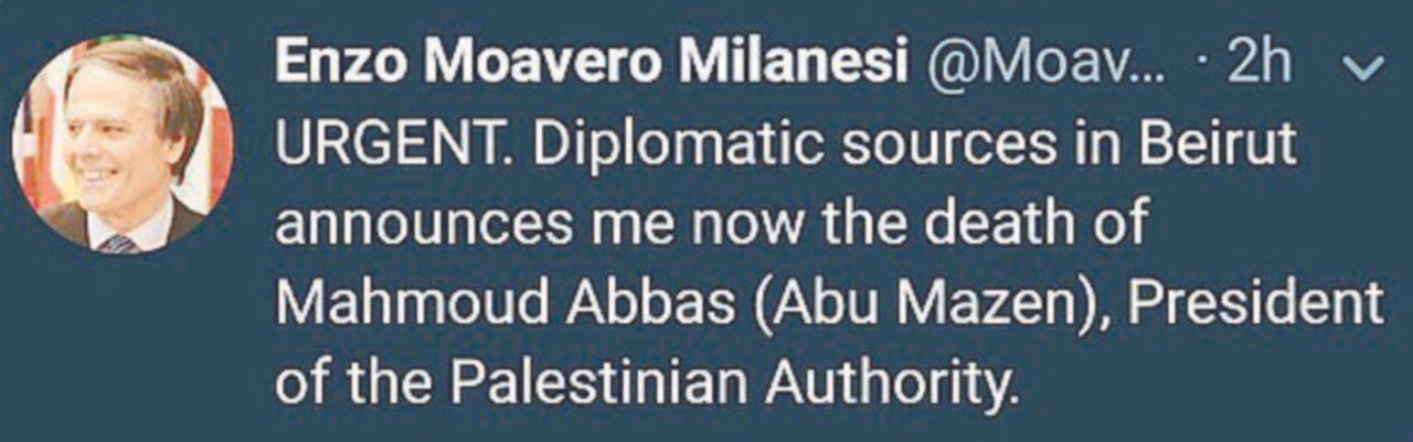 Il falso Moavero uccide Abu Mazen