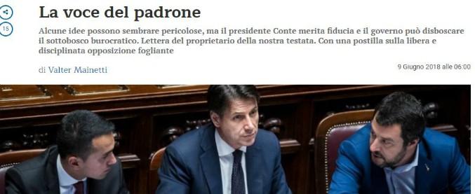 """Governo, l'editore del Foglio scrive al Foglio: """"Dar fiducia a Conte, le critiche arrivano da consorterie di interessi"""""""