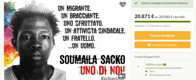 Soumaila Sacko, raccolta fondi dell'Usb per il rientro della salma in Mali: in tre giorni superati i 20mila euro