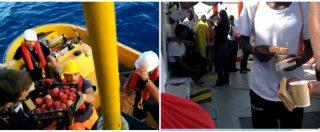 Aquarius, arrivano i rifornimenti sulla nave: i volontari servono il pranzo ai migranti
