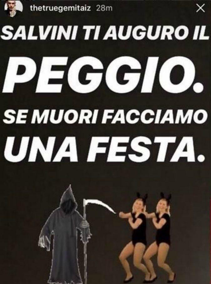 """Gemitaiz contro Salvini: """"Se muori facciamo festa"""". Il ministro risponde: """"Che problemi ha 'sto fenomeno?"""""""