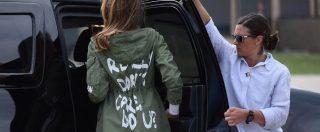 """Melania Trump visita centro per bambini migranti. Ma sulla giacca c'è la scritta: """"Non mi importa niente, e a te?"""""""