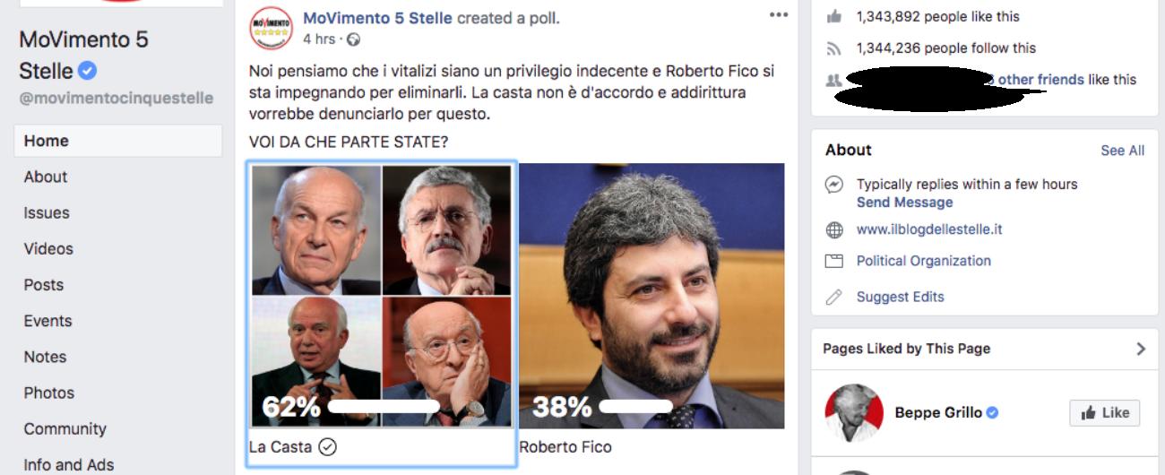 """Vitalizi, sondaggio M5s su Facebook: """"Stai con la casta o con Fico?"""". I risultati sono sfavorevoli e il post scompare dopo 4 ore"""