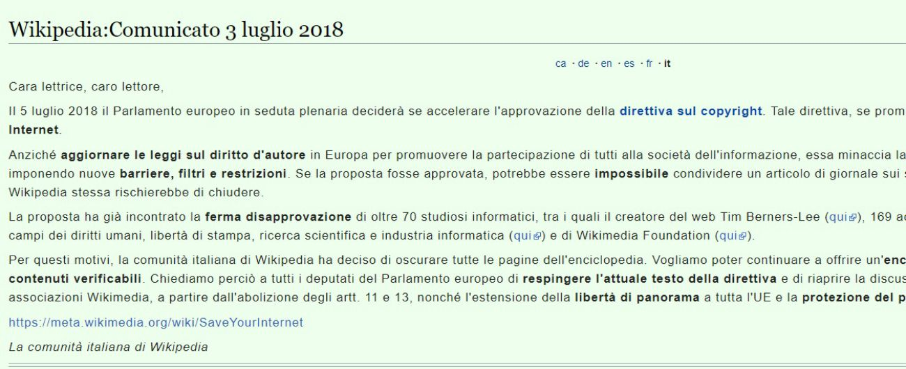 Wikipedia oscurata in protesta contro direttiva copyright for Il parlamento italiano wikipedia