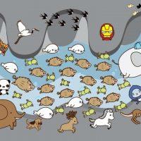 La rappresentazione di un vignettista di tutti i protagonisti del salvataggio