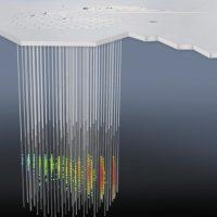 Una rappresentazione artistica del telescopio per neutrini IceCube e di una sorgente cosmica di neutrini (fonte Icecube/NSF)