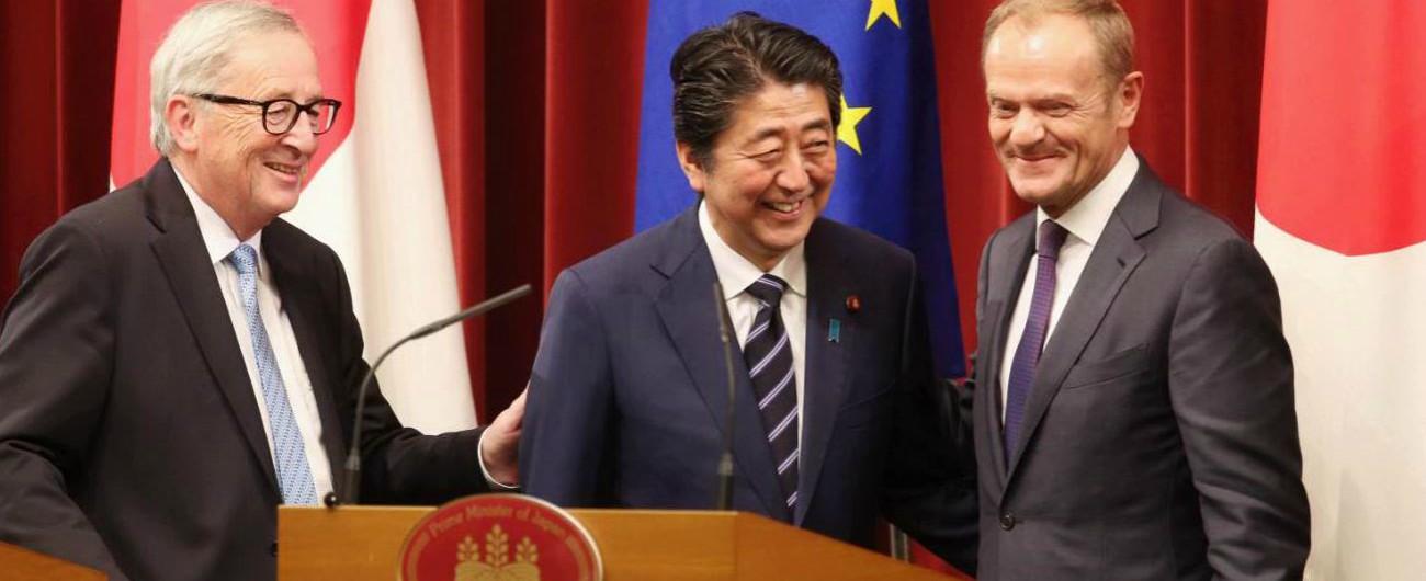 Ue e Giappone firmano accordo di libero scambio: eliminato il 90% di dazi. Una mossa contro il protezionismo di Trump