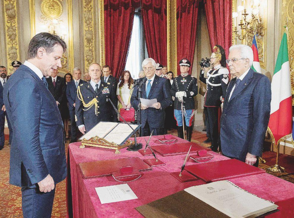 Giuramento – Giuseppe Conte davanti al presidente della Repubblica Sergio  Mattarella – Ansa