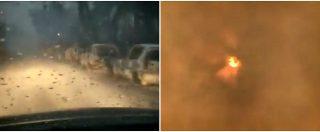 Incendi Grecia, la strada sembra un inferno: colonne di auto bruciate e pioggia di cenere. E il sole è oscurato dal fumo