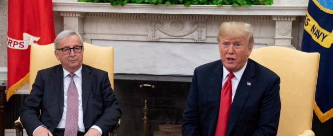 """Dazi, incontro alla Casa Bianca. Trump: """"Nuova fase dei rapporti Usa-Ue"""". Juncker: """"Abbiamo raggiunto un accordo"""""""
