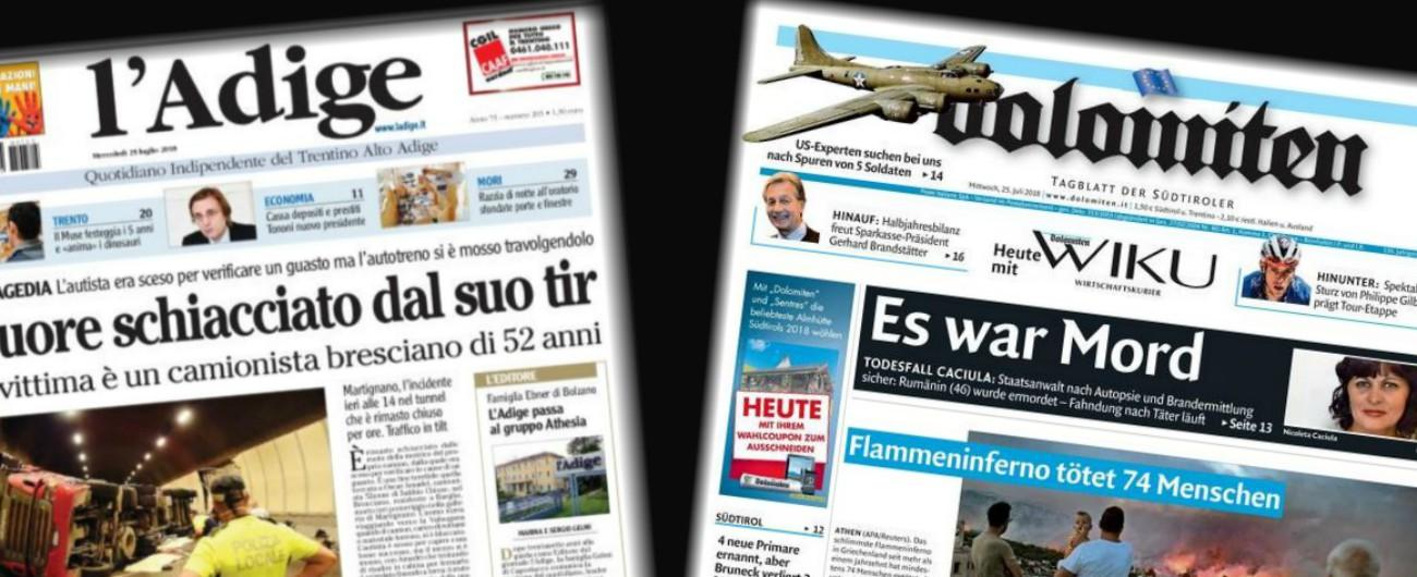 """Trentino, gruppo Athesia compra L'Adige: ora possiede i 4 quotidiani della Regione. """"Pluralismo dell'informazione a rischio"""""""