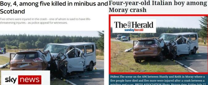 Scozia, un bambino di 4 anni e una donna italiani tra i 5 morti in un incidente stradale. Altre cinque persone ferite