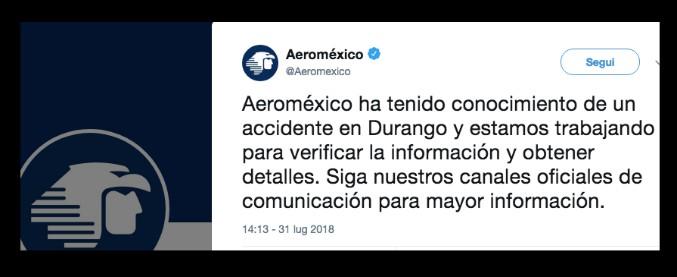 """Messico, aereo precipitato poco dopo il decollo. Media: """"A bordo 100 persone"""""""