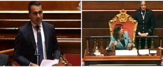 """Air Force Renzi, Di Maio: """"Preso per soddisfare esigenze narcisistiche"""". Scoppia la protesta in Senato: """"Buffone, bugiardo"""""""
