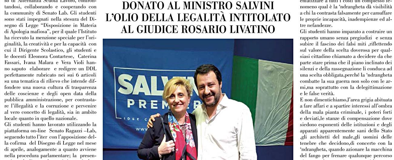 Rosarno, la scuola compra pagina di giornale per l'autodifesa della preside indagata che ospita Salvini