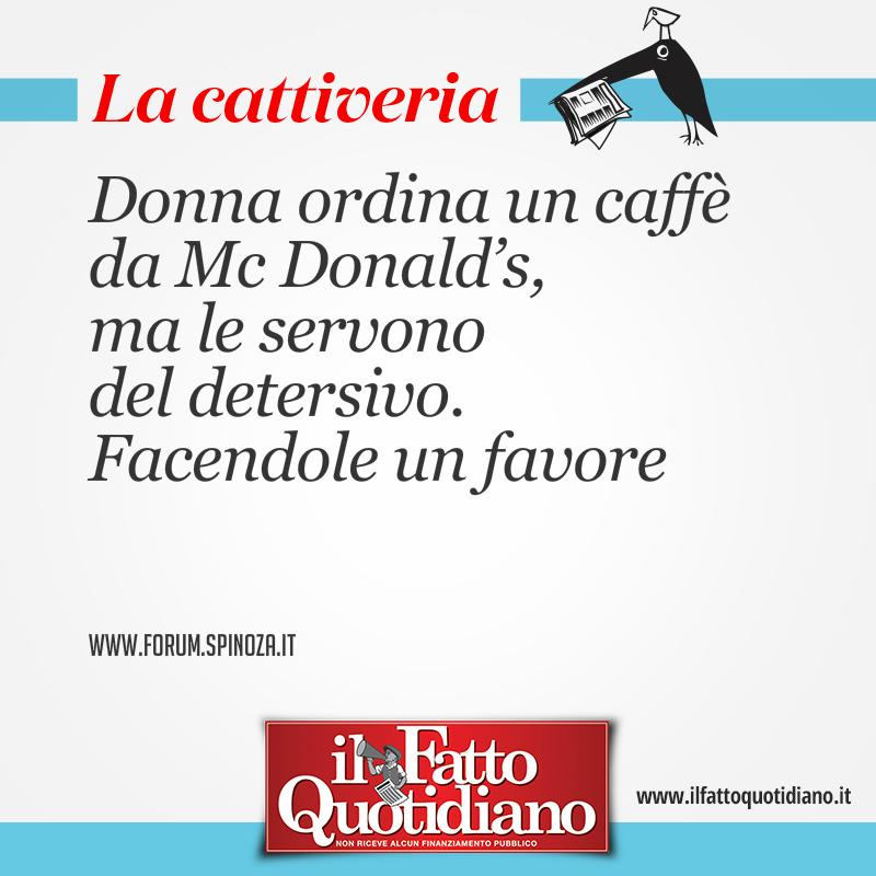 Donna ordina un caffè da Mc Donald's, ma le servono del detersivo. Facendole un favore