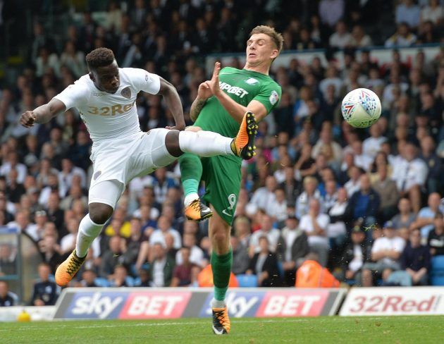 """Leeds United's Ronaldo Vieira has a shot on goal during the Sky Bet Championship match at Elland Road, Leeds. PRESS ASSOCIATION Photo. Picture date: Saturday August 12, 2017. See PA story SOCCER Leeds. Photo credit should read: Anna Gowthorpe/PA Wire. RESTRICTIONS: EDITORIAL USE ONLY No use with unauthorised audio, video, data, fixture lists, club/league logos or """"live"""" services. Online in-match use limited to 75 images, no video emulation. No use in betting, games or single club/league/player publications."""