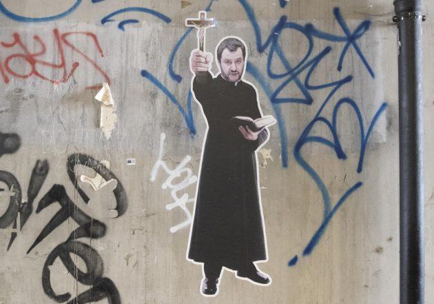 Foto LaPresse - Andrea Panegrossi<br /> 28/07/2018- Roma, Italia<br /> Il murales di Salvini vestito da prete nel sottopasso di via delle Conce a Ostiense<br /> Photo LaPresse - Andrea Panegrossi<br /> 28/07/2018- Rome, Italy<br /> Salvini's mural dressed as a priest in the underpass of Via delle Conce in Ostiense