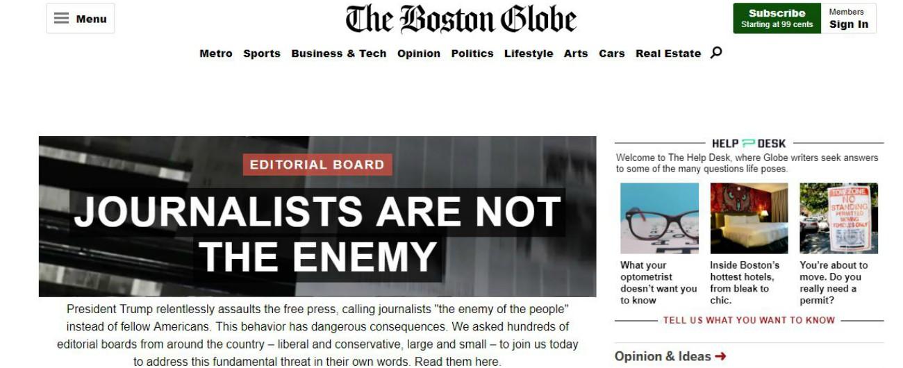 """Usa, oltre 300 giornali contro la """"guerra sporca alla stampa"""" di Donald Trump: """"Non siamo nemici del popolo"""""""